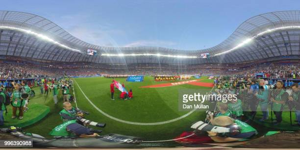 General view inside the stadium as teams line up during the 2018 FIFA World Cup Russia Semi Final match between England and Croatia at Luzhniki...