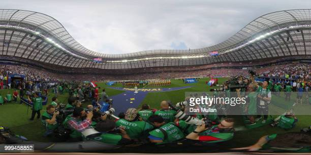General view inside the stadium as teams line up during the 2018 FIFA World Cup Final between France and Croatia at Luzhniki Stadium on July 15 2018...