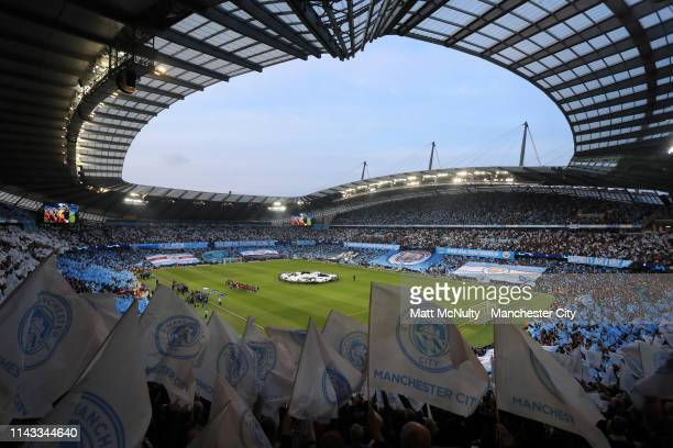 General view inside the stadium as teams line up during the UEFA Champions League Quarter Final second leg match between Manchester City and...