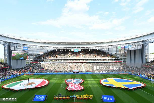 General view inside the stadium as teams line up prior to the 2018 FIFA World Cup Russia group F match between Mexico and Sweden at Ekaterinburg...