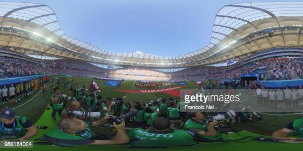 General view inside the stadium as teams line up prior to the 2018 FIFA World Cup Russia group H match between Japan and Poland at Volgograd Arena on...