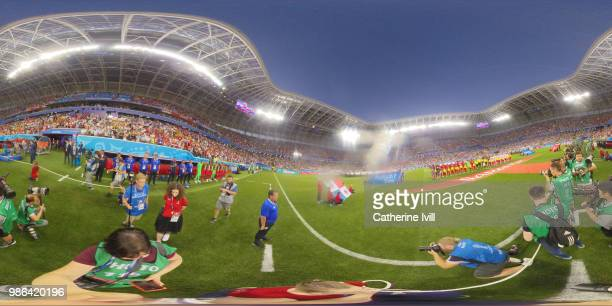 General view inside the stadium as teams line up prior to the 2018 FIFA World Cup Russia group G match between Panama and Tunisia at Mordovia Arena...