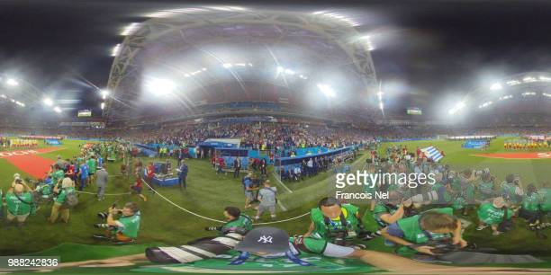 General view inside the stadium as teams line up prior to the 2018 FIFA World Cup Russia Round of 16 match between Uruguay and Portugal at Fisht...