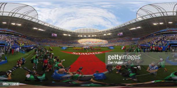 General view inside the stadium as teams line up prior to the 2018 FIFA World Cup Russia Round of 16 match between Brazil and Mexico at Samara Arena...