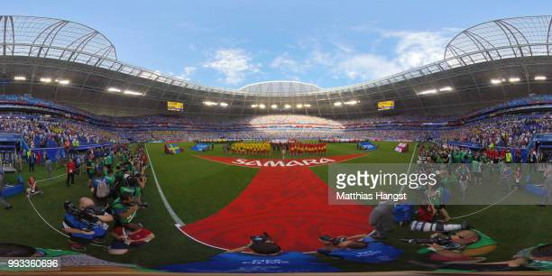 General view inside the stadium as teams line up prior to the 2018 FIFA World Cup Russia Quarter Final match between Sweden and England at Samara...