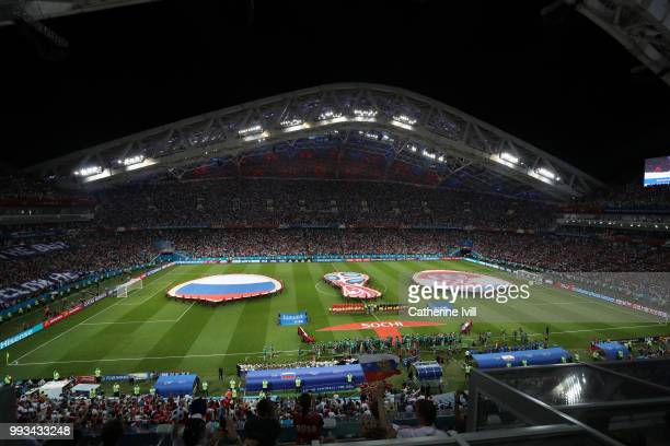 General view inside the stadium as teams line up prior to the 2018 FIFA World Cup Russia Quarter Final match between Russia and Croatia at Fisht...