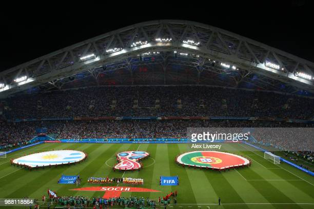 General view inside the stadium as teams line up the 2018 FIFA World Cup Russia Round of 16 match between Uruguay and Portugal at Fisht Stadium on...