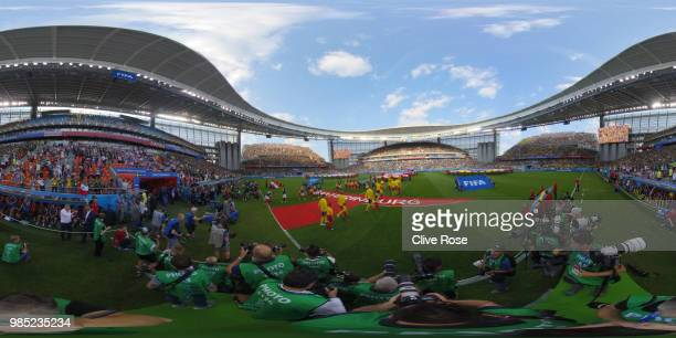 General view inside the stadium as teams walk on the pitch during the 2018 FIFA World Cup Russia group F match between Mexico and Sweden at...