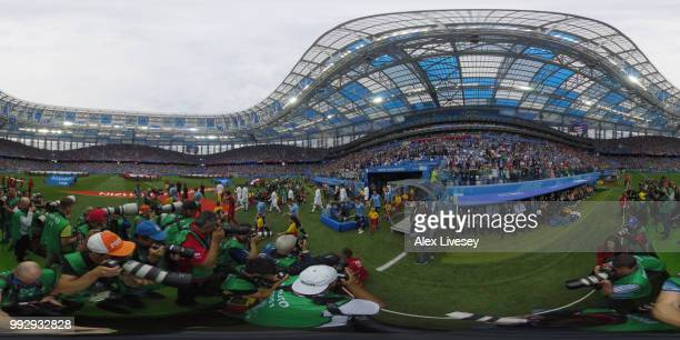 General view inside the stadium as teams walk on the pitch during the 2018 FIFA World Cup Russia Quarter Final match between Uruguay and France at...