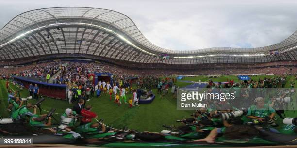 General view inside the stadium as teams walk on the pitch during the 2018 FIFA World Cup Final between France and Croatia at Luzhniki Stadium on...