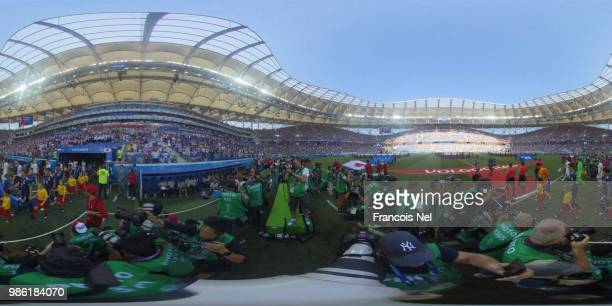 General view inside the stadium as teams walk on the pitch prior to the 2018 FIFA World Cup Russia group H match between Japan and Poland at...