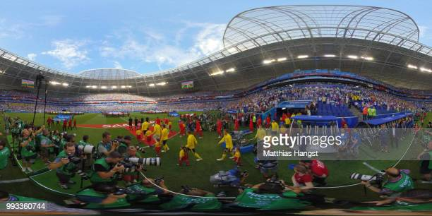 General view inside the stadium as teams walk on the pitch prior to the 2018 FIFA World Cup Russia Quarter Final match between Sweden and England at...