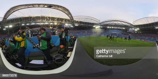 General view inside the stadium as teams warm up prior to the 2018 FIFA World Cup Russia Semi Final match between Belgium and France at Saint...