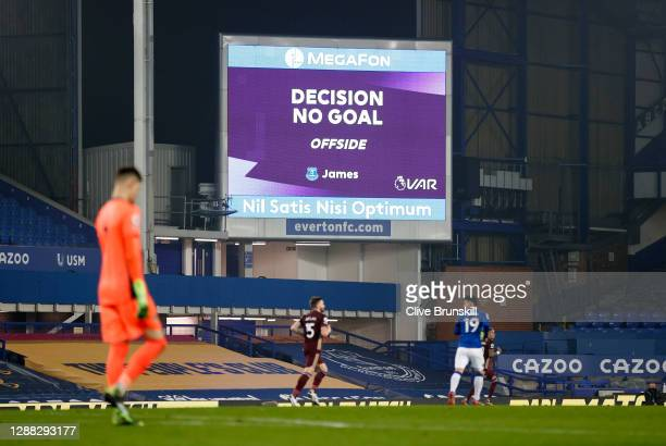 General view inside the stadium as the big screen confirms the VAR decision of No goal, after Everton had scored from an offside position during the...