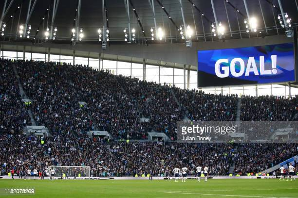 General view inside the stadium as the big screen shows 'goal' after Tottenham Hotspur's first goal during the Premier League match between Tottenham...