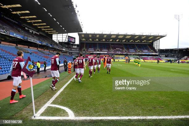 General view inside the stadium as the Burnley players walk out to the pitch prior to the Premier League match between Burnley and West Bromwich...
