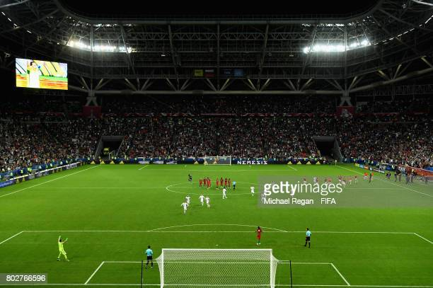 General view inside the stadium as the Chile team celebrate after they win the penalty shoot out during the FIFA Confederations Cup Russia 2017...
