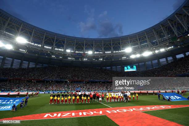General view inside the stadium as the Croatia and Denmark teams line up prior to the 2018 FIFA World Cup Russia Round of 16 match between Croatia...