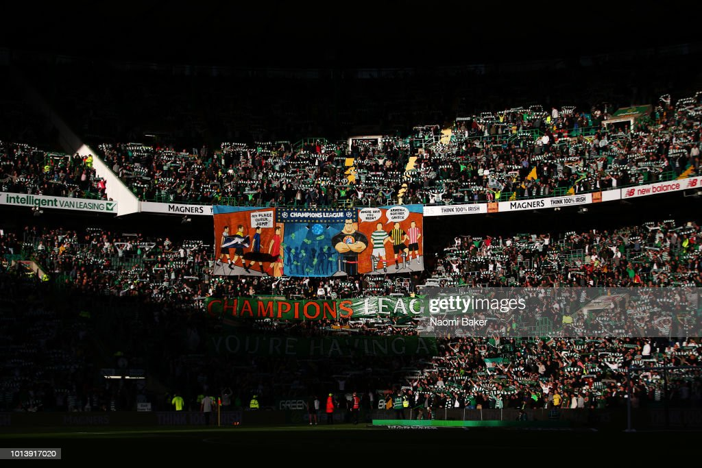 A general view inside the stadium as the crowd cheers on thier team during the UEFA Champions League Qualifiing match between Celtic and AEK Athens at Celtic Park Stadium on August 8, 2018 in Glasgow, Scotland.