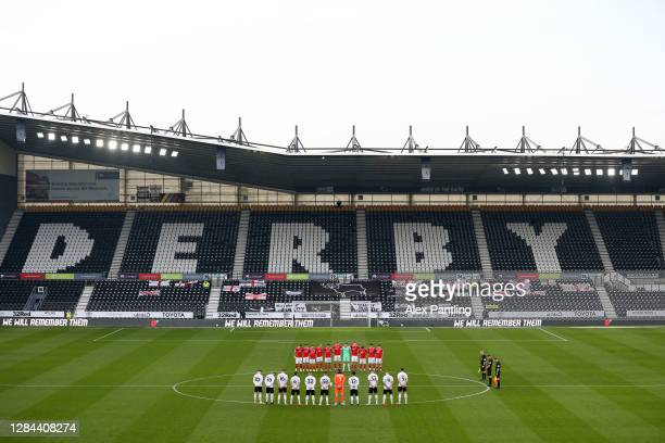 General view inside the stadium as the Derby County and Barnsley players observe a minutes silence to mark Armistice Day prior to the Sky Bet...