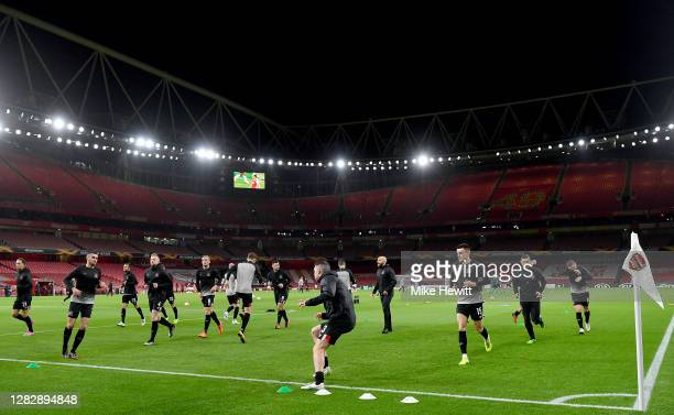 General view inside the stadium as the Dundalk players warm up prior to the UEFA Europa League Group B stage match between Arsenal FC and Dundalk FC...
