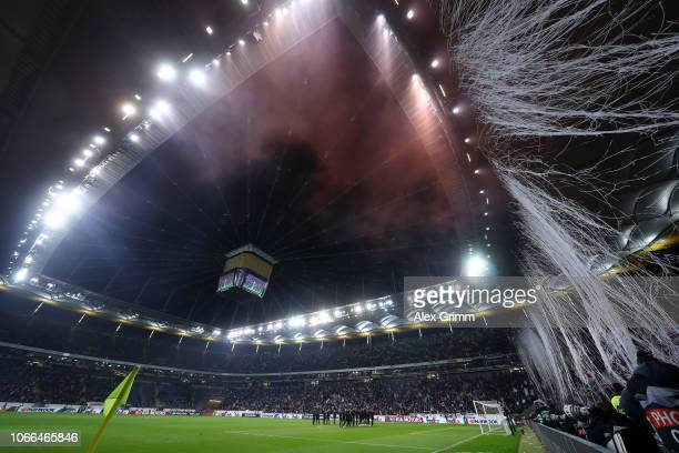 General view inside the stadium as the Eintracht Frankfurt team celebrate victory after the UEFA Europa League Group H match between Eintracht...