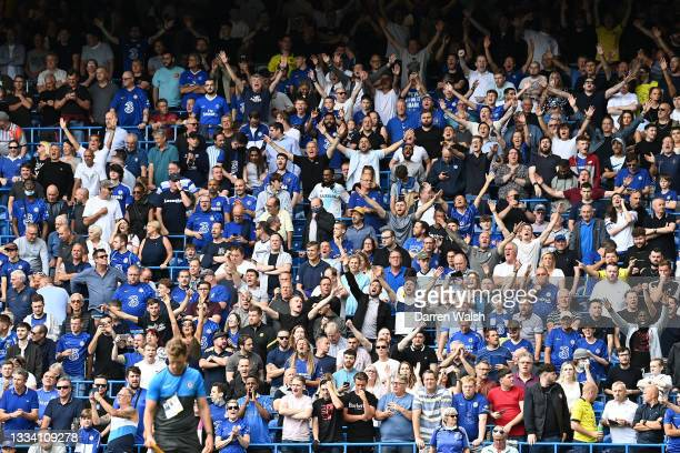 General view inside the stadium as the fans show their support prior to the Premier League match between Chelsea and Crystal Palace at Stamford...