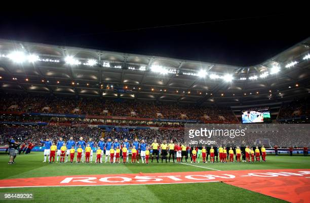 General view inside the stadium as the Iceland and Croatia players line up for the national anthems prior to the 2018 FIFA World Cup Russia group D...