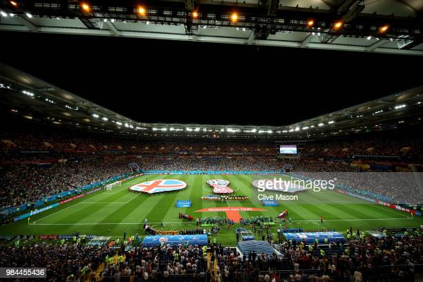 General view inside the stadium as the Iceland and Croatia teams line up prior to the 2018 FIFA World Cup Russia group D match between Iceland and...