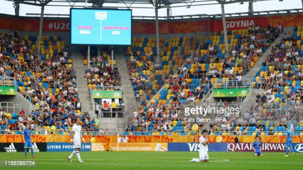 General view inside the stadium as the Italy team wait for a goal to be reviewed by VAR during the 2019 FIFA U20 World Cup Semi Final match between...