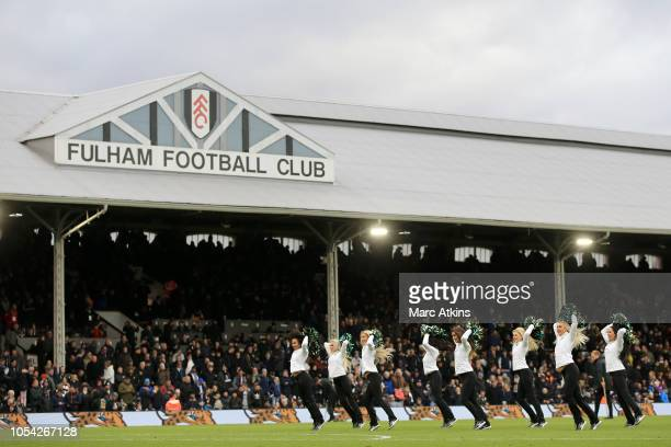 General view inside the stadium as the Jaxonville Roar cheerleading group perform at half time during the Premier League match between Fulham FC and...