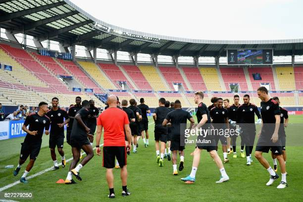 General view inside the stadium as the Manchester United team train during a training session ahead of the UEFA Super Cup final between Real Madrid...