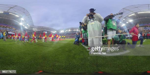 General view inside the stadium as the Morocco and Spain teams walk onto the pitch prior to the 2018 FIFA World Cup Russia group B match between...