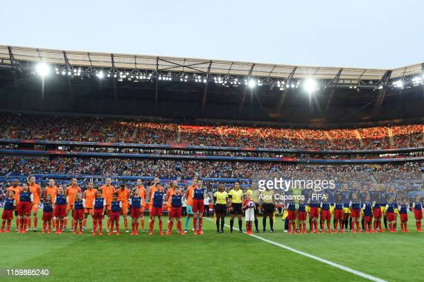General view inside the stadium as the Netherlands and Sweden players line up for the national anthem prior to the 2019 FIFA Women's World Cup France...