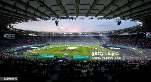 General view inside the stadium as the opening ceremony takes place prior to the UEFA Euro 2020 Championship Group A match between Turkey and Italy...
