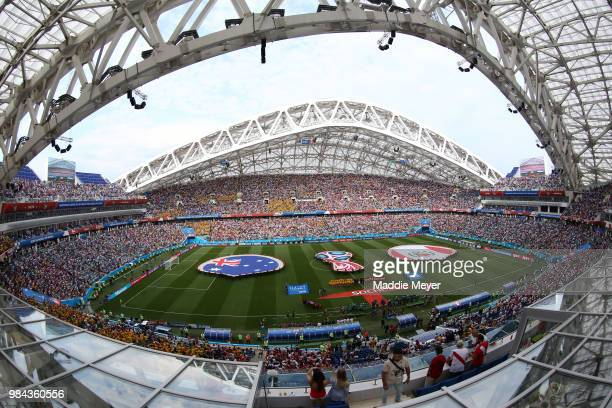 General view inside the stadium as the Peru and Australia teams line up for the national anthem prior to the 2018 FIFA World Cup Russia group C match...