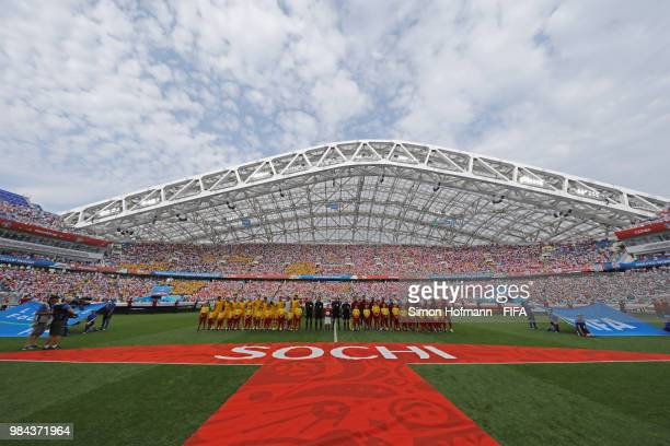 General view inside the stadium as the Peru and Australia teams line up prior to the 2018 FIFA World Cup Russia group C match between Australia and...