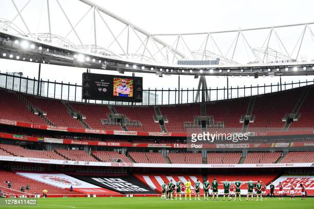 General view inside the stadium as the players observe a minutes silence in memory of policeman Matt Ratana prior to the Premier League match between...