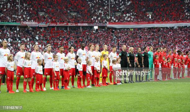 General view inside the stadium as the RB Leipzig and Bayern Munich players line up prior to the DFB Cup final between RB Leipzig and Bayern Muenchen...