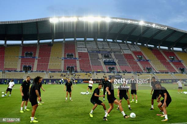 General view inside the stadium as the Real Madrid team train during a training session ahead of the UEFA Super Cup final between Real Madrid and...