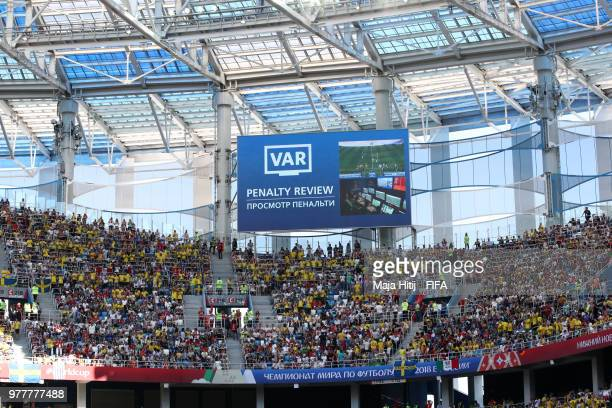 General view inside the stadium as the referee refers to the official VAR review during the 2018 FIFA World Cup Russia group F match between Sweden...