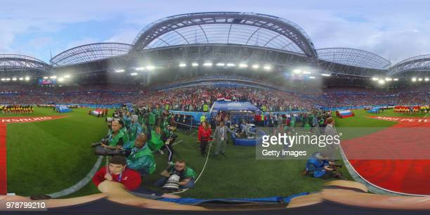 General view inside the stadium as the Russia and Egypt teams line up for the national anthems prior to the 2018 FIFA World Cup Russia group A match...