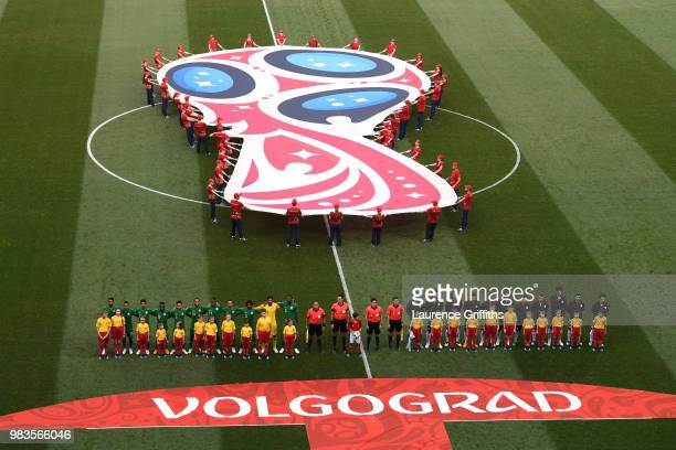 General view inside the stadium as the Saudi Arabia and Egypt teams line up for the national anthems prior to the 2018 FIFA World Cup Russia group A...