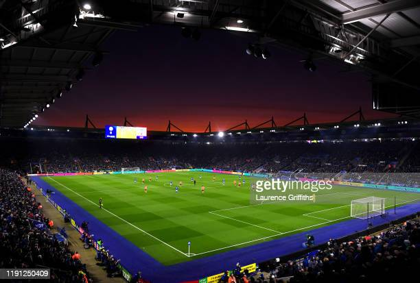 General view inside the stadium as the sun sets during the Premier League match between Leicester City and Everton FC at The King Power Stadium on...