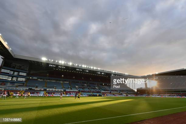 General view inside the stadium as the sun sets during the Premier League match between Aston Villa and Arsenal FC at Villa Park on July 21, 2020 in...