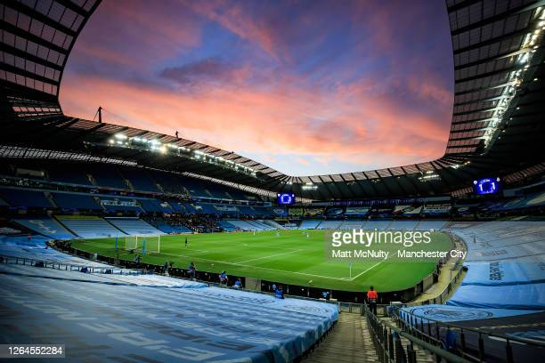 General view inside the stadium as the sun sets during the UEFA Champions League round of 16 second leg match between Manchester City and Real Madrid...