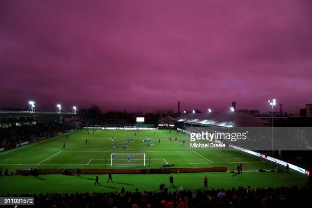 General view inside the stadium as the sun sets prior to The Emirates FA Cup Fourth Round match between Newport County and Tottenham Hotspur at...