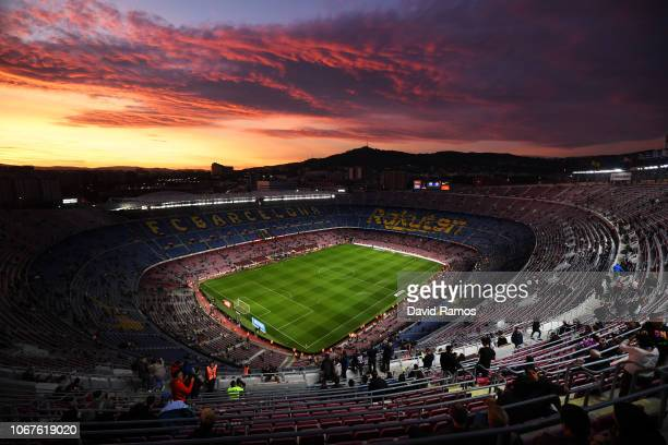 General view inside the stadium as the sun sets prior to the La Liga match between FC Barcelona and Villarreal CF at Camp Nou on December 2, 2018 in...