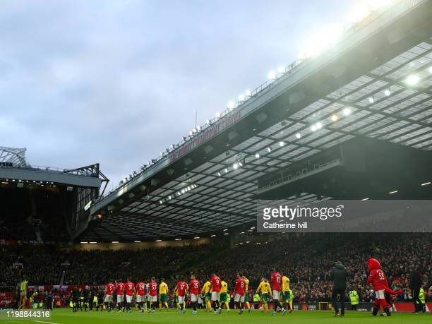 General view inside the stadium as the teams enter the pitch prior to the Premier League match between Manchester United and Norwich City at Old...