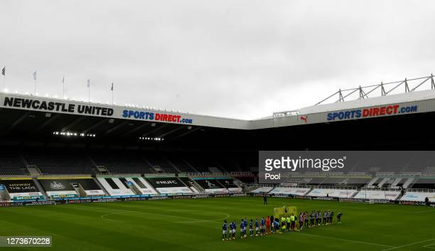 A general view inside the stadium as the teams line up ahead of the Premier League match between Newcastle United and Brighton Hove Albion at St...